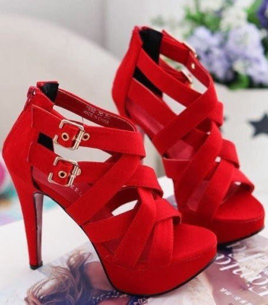 Shoes: red, high heels, red high heels, strappy heels, red strappy ...