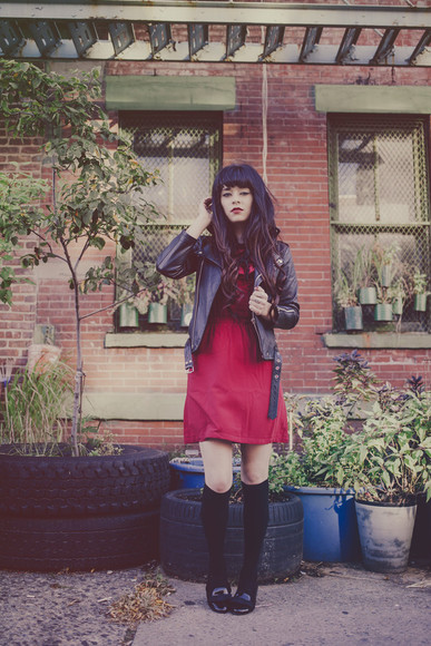ruffle jag lever blogger jacket socks loafers knee high socks leather jacket red dress