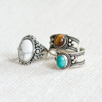 jewels ring vintage blue brown white grey old jewelry silver ring boho boho jewelry