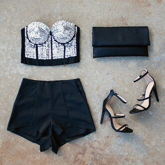 top bustier sequins holidays love ootd ootn fashion tube top tube tops single sole heels gojane