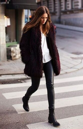 coat fur faux fur coat bordeaux