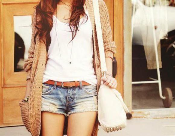 sweater tan sweater brown sweater shorts bag cardigan top jewels
