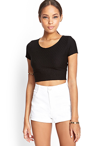 Matelassé Crop Top | FOREVER21 - 2000060617
