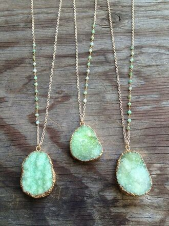 jewels pastel blue green precious stone mint gold glitter neklace jewelry nacklace