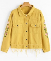 jacket,embroidered,girly,yellow,button up,denim,denim jacket