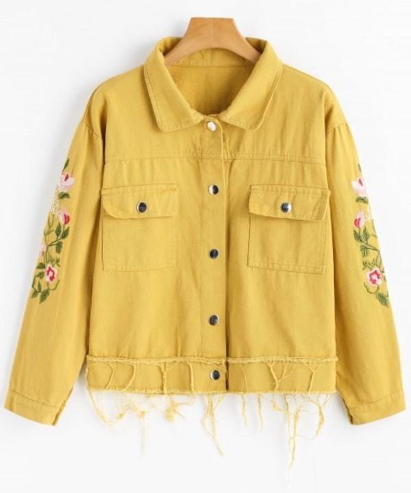 jacket embroidered girly yellow button up denim denim jacket