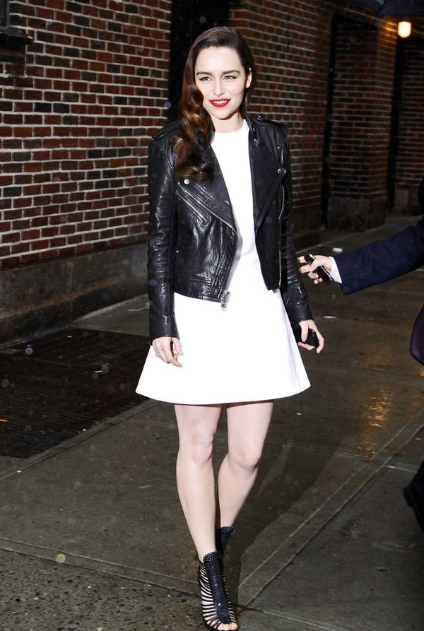 dress white dress mini dress emilia clarke celebrity style minimalist dress