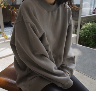 sweater cream nude tan grey sweater grey pullover vintage pullover