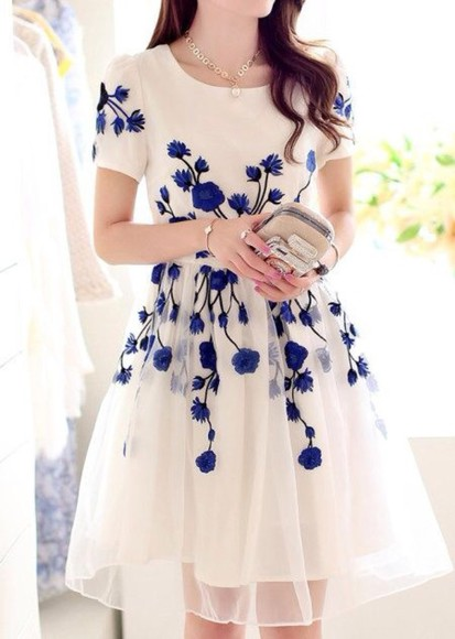 dress elegant dresses cream blue flowers dress