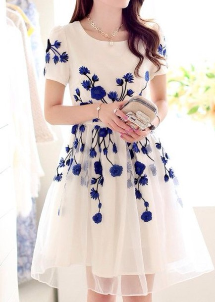 Blue dress white dress embroidered puffy floral dress holiday blue dress white dress embroidered puffy floral dress holiday dress purple dress elegant dress cream blue flowers dress blue floral dress mightylinksfo