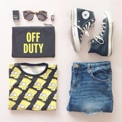 sweater,bag,jeans,top,bart simpson top,black converse,skinny jeans,off duty purse