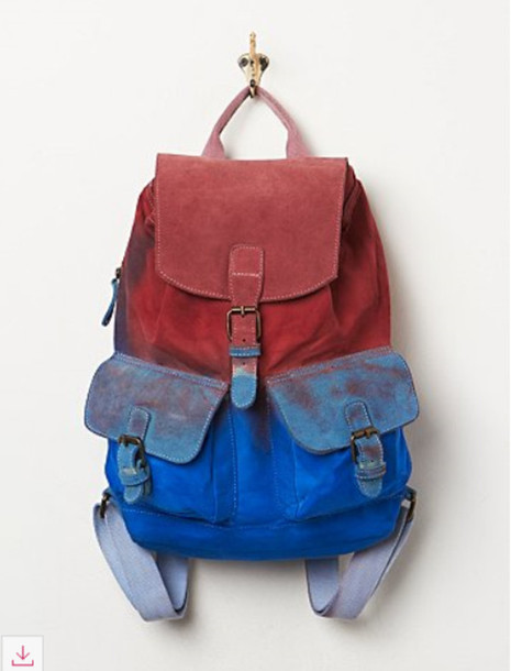 bag backpack cool funny colored blue lovethis colored jeans