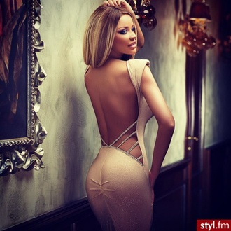 dress prom prom queen back pink beige sexy beautiful classy fashion hair blonde hair body laced dress official dress cocktail party