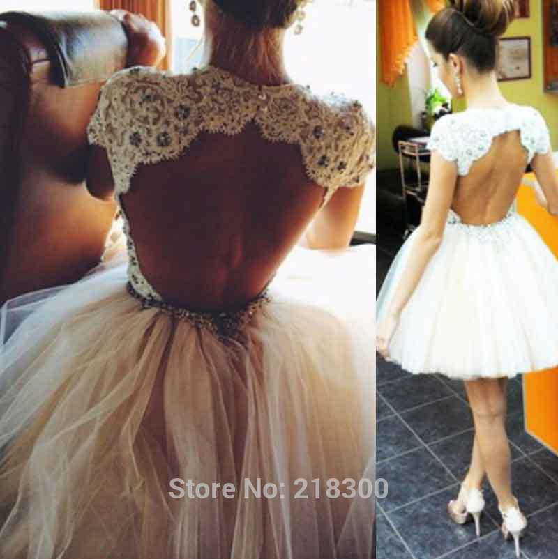 Aliexpress.com : buy backless white short prom dresses cap sleeves champagne lace ball gown home coming dresses knee length open back cocktail dress from reliable dresses less than 100 suppliers on mypromdresses