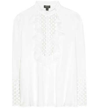 shirt embellished lace silk white top