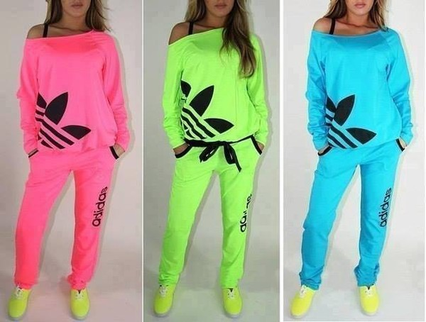 clothes tracksuit jumpsuit shoes adidas pants fluo shirt sweater light blue sportswear pink sporty lime gym athletic sportswear adidas tracksuit neon adidas tracksuit joggers all colours adidas tracksuit adidas jumpsuit tracksuit trousers top floescent green joggers