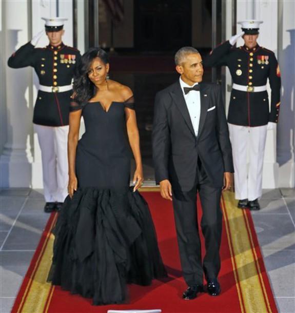 Dress Obama Off Sholder Michelle Obama Vera Wang Black Dress