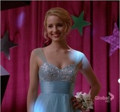glee,blue dress,dianna agron,dress,light blue prom dress,prom dress,prom gown,quinn fabray