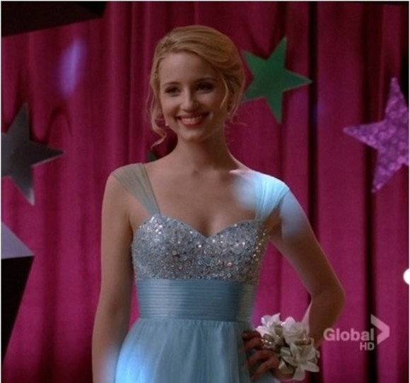dianna agron glee blue dress