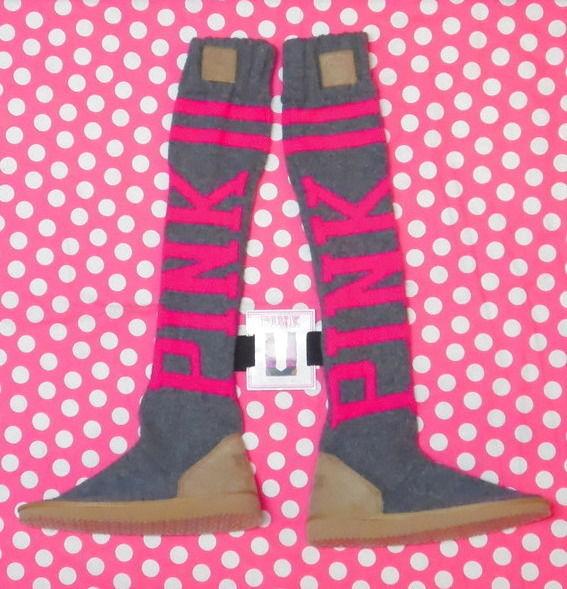 Victoria's secret pink knit logo mukluk slipper socks nwt m (7