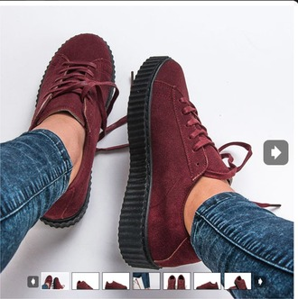 shoes red bordeaux creepers lace shoes black black and red bordeaux red wine women