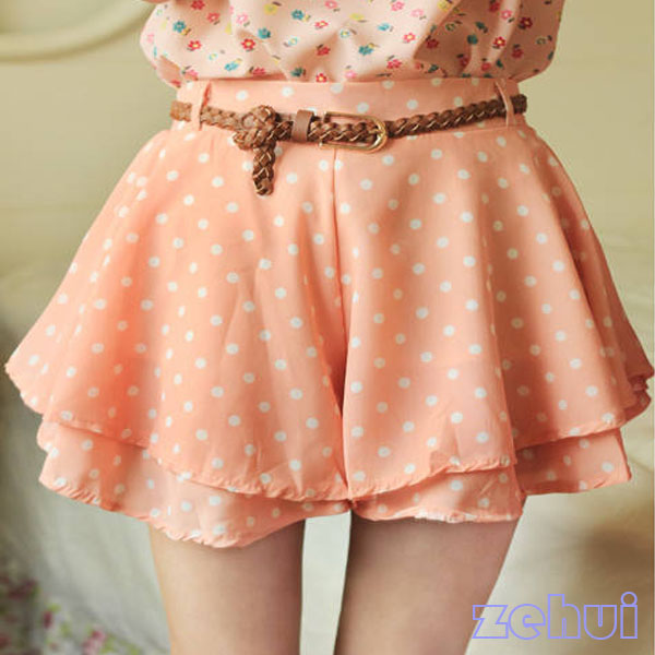 Charms Girl Pleated Polka Dot Chiffon Divided Skirt Mini Dress Lady Shorts w Bel | eBay