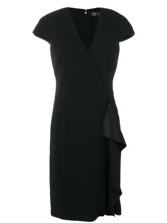 dress ruffle women spandex black silk