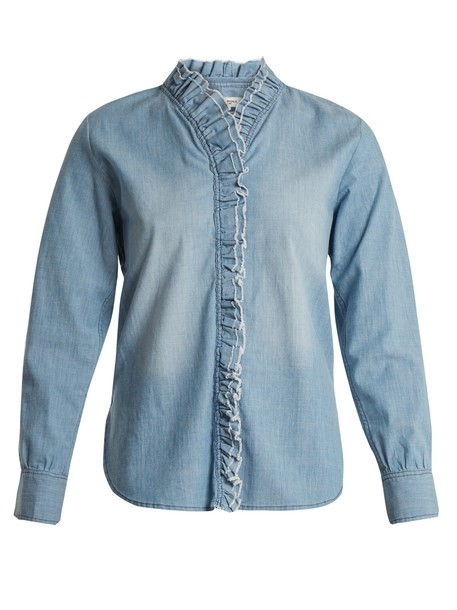 shirt ruffle cotton light blue light blue top