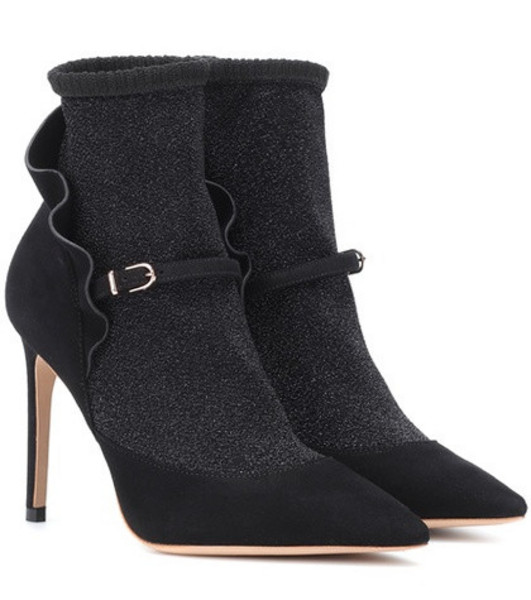 Sophia Webster Lucia suede ankle boots in black