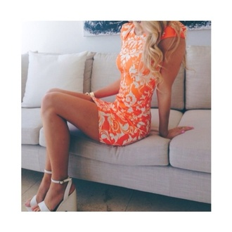 dress white dress bodycon lace pattern orange and white heels summer evening dress prom dress sixth form fluo neon bright orange dress night out dress summer dress summer outfits shoes