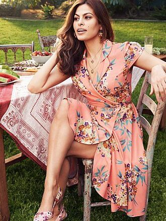 dress eva mendes celebrity wrap dress floral wrap dress floral dress peach dress ballet flats floral flats summer dress summer outfits
