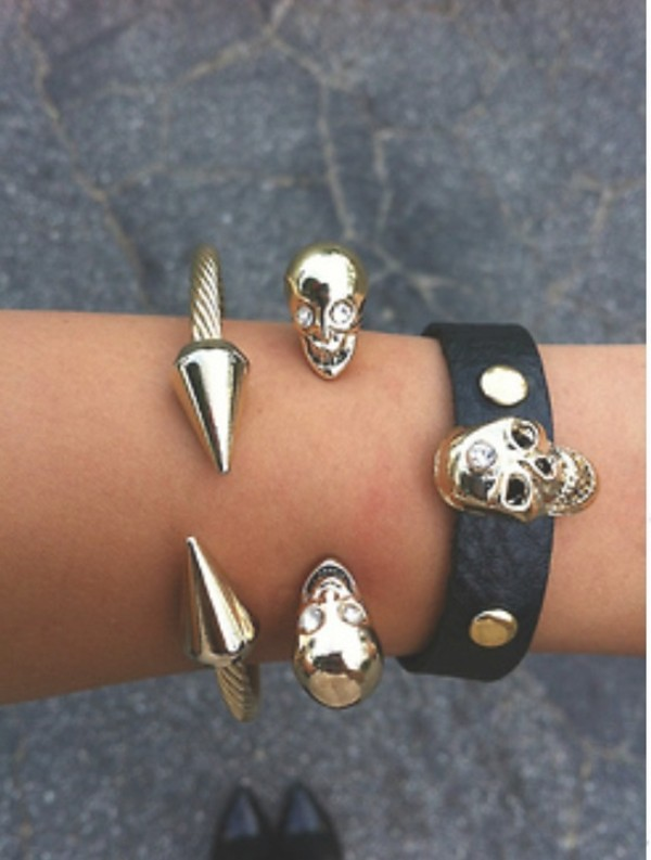 jewels skull black gold jewelry bracelets bracelets spikes spike cuff cuffs