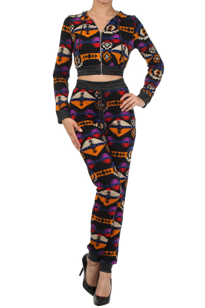 The Aztec Crop Sweat Suit The Red VIXEN Apparel