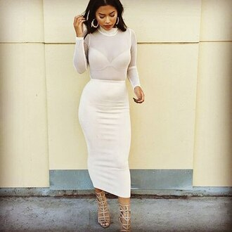 blouse sotrendyish instagram twitter tumblr midi skirt maxi skirt mesh shirt mesh sheer high neck turtleneck long sleeves dress two piece dress set white nude blush bodycon sexy summer