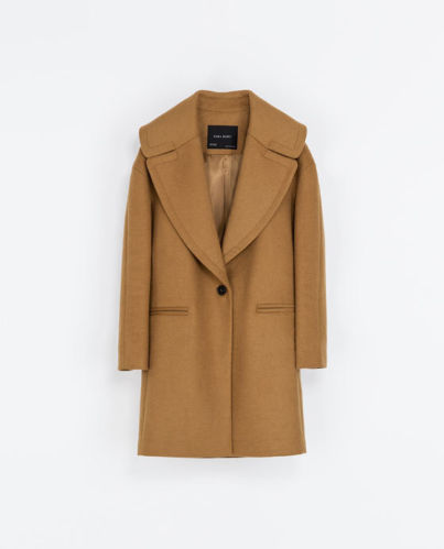 Zara oversized camel wool coat with large lapel