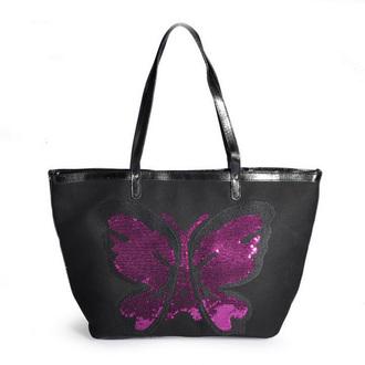 bag black bag handbag sequin bag butterfly print sequins