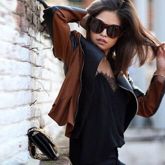 jacket perfecto brown and black slip ins sunglasses black top tank top