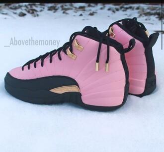shoes air jordan 12 jordans jordan's shoes pink gold