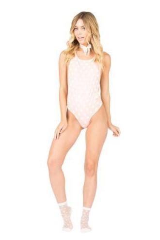 swimwear one piece monokini peach pink polka dots racerback bikiniluxe
