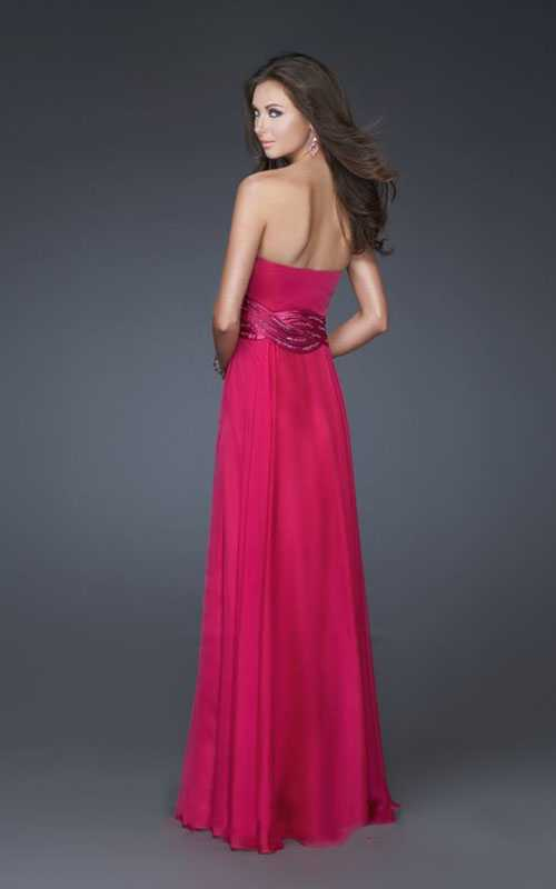 2014 Tempting Strapless with Belt Chiffon Prom Dress - Willpromdress.com