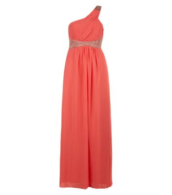 Coral embellished one shoulder maxi prom dress