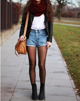 polka dots tights fall outfits denim shorts infinity scarf black boots white t-shirt shoulder bag fall accessories outfit grunge purse boots bergundy scarf brown curls high waisted shorts denim bag brown bag crop tops blue white red outfit nylons polka dot tights scarf jacket shirt black tumblr shiny nylons