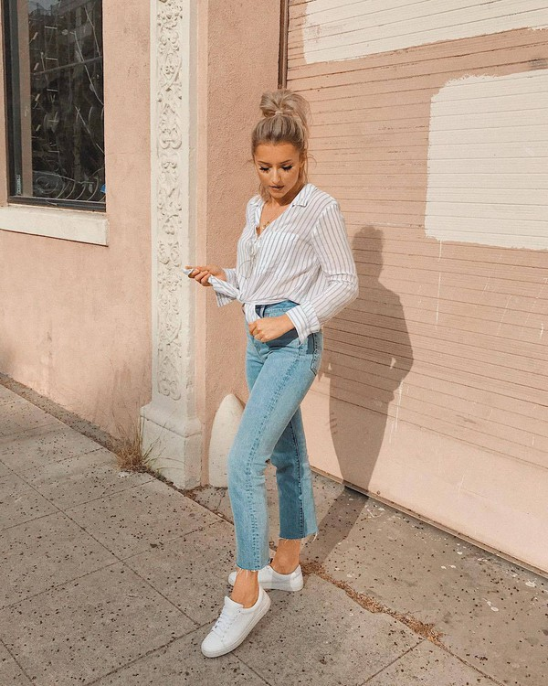 jeans top tie top denim shoes sneakers white sneakers