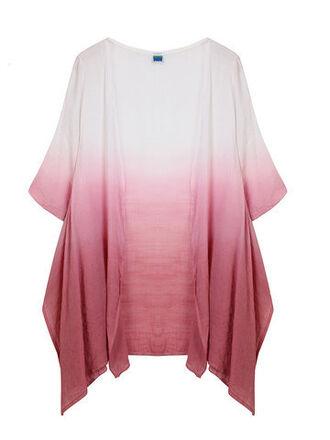 top ombre white red kimono gradient newchic