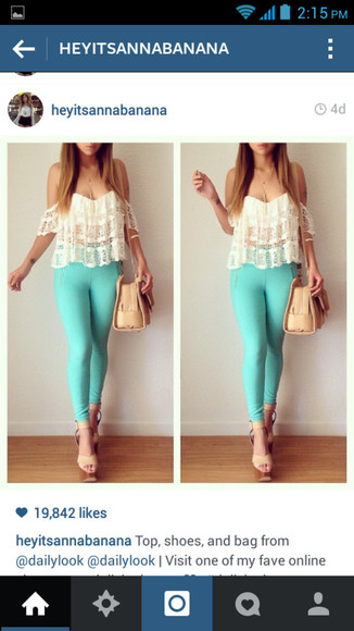 mint top blouse jeggings aqua vintage