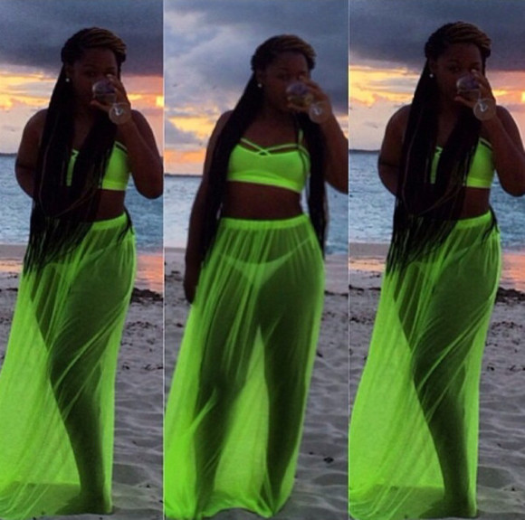 neon skirt swimwear cover up