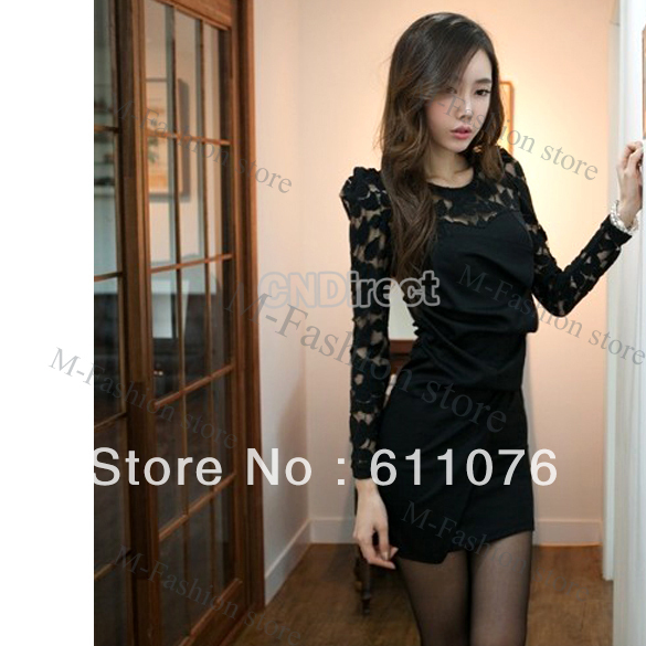 Sexy Women's Long Sleeve Round Neck Lace Dress Black, Red free shipping 7483-in Dresses from Apparel & Accessories on Aliexpress.com