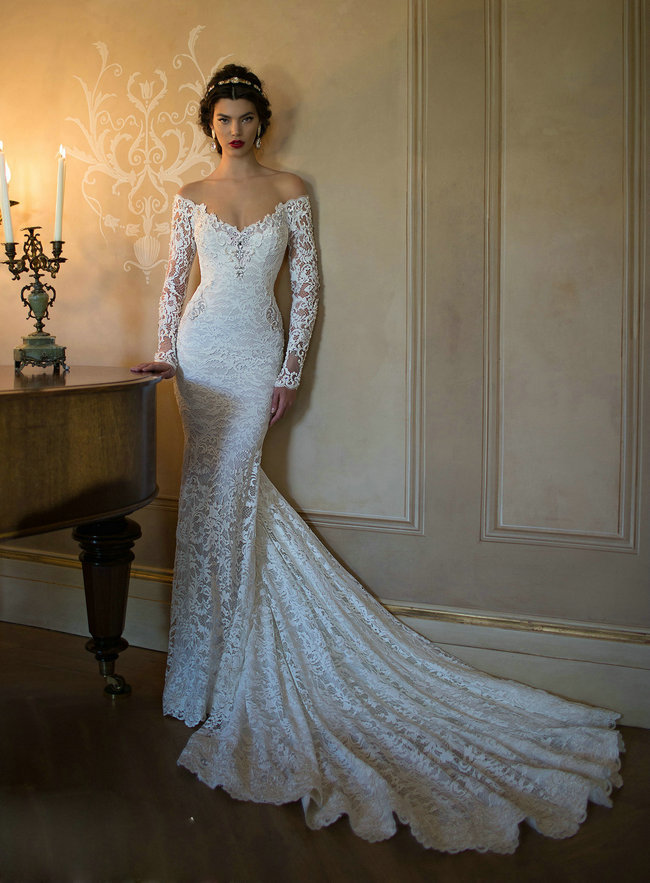 Aliexpress.com : buy vestidos de novia sexis backless off shoulder long sleeve lace mermaid wedding dress 2015 with long train from reliable wedding dress fat bride suppliers on 27 dress