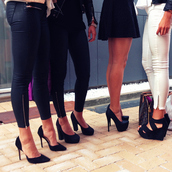 pants,black,leather,black leather pants,zip,gold,white,skinny jeans,high heels,shoes