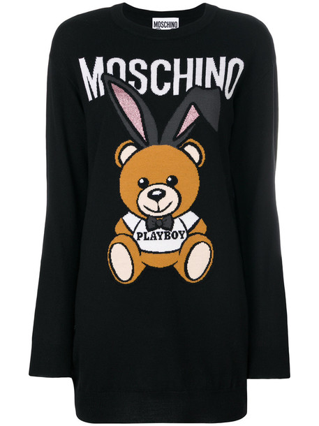 Moschino dress sweater dress bear women mohair black wool